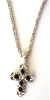 Crystal and Silver Cross Necklace (SKU: P4022)