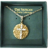 Gold Medallion Crystal Cross Necklace (SKU: P4340)