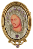 Silver and Gold Purple Crystal Iconica Mary Brooch (SKU: 91171)
