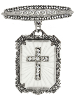 Silver-Tone Frosted Stone Crystal Cross Drop Bar Pin (SKU: 91291)