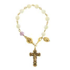 Genuine Mother-of-Pearl & Amethyst Crystal Rosary Bracelet (SKU: P6076)