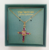 Amethyst Crystal and Gold Vatican Cross Necklace (SKU: PGLD26)