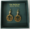 Gold Cut-Out Cross Vatican Library Earrings (SKU: P2156)