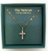 Dainty Silver and Crystal Cross Vatican Necklace (SKU: P4963)