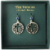 Round Silver Cut-out Cross Cross Earrings - Sapphire Crystals (SKU: P2149)