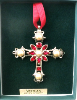 Pearl and Crystal Vatican Cross Ornament (SKU: P8050VC)