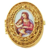 Emaneled Ornate Gold Mother and Child Vatican Pill Box-Rosary Box (SKU: P6767)