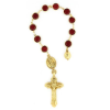 Our Lady of Guadalupe Gold Tone Siam Red Hue Hand Rosary (SKU: P6035)