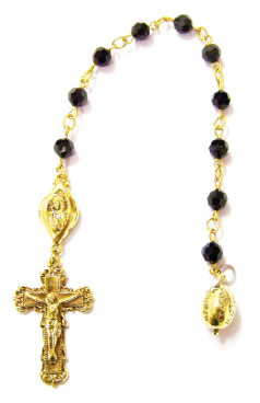 Jet  Swarovski Crystals Channel Decade Rosary Beads