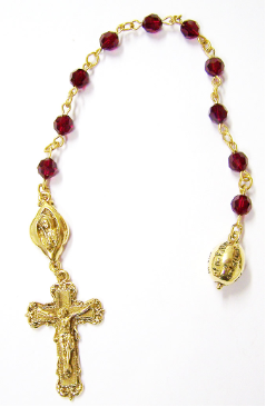 Garnet Swarovski Crystals Channel Decade Rosary Beads