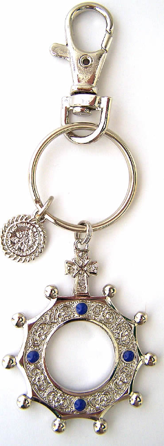 Glory Sapphire Silver Finger Rosary Key Chain