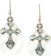 Aurora Borealis Crystal Silver Cross Earrings NA