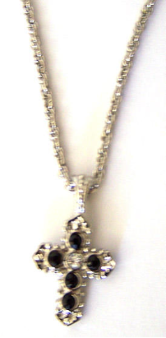 Crystal and Silver Cross Necklace