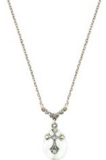 Silver and Crystal Cross Necklace