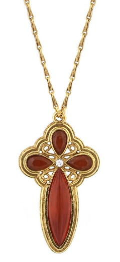 European Stones - Vatican Library Gold Cross Necklace