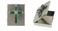 Emerald Crystal Cross Pill Box