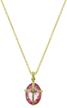Gold-Dipped Kingdom Pink and Gold Cross Necklace