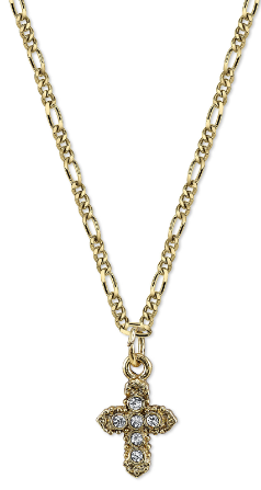 Petite Gold Tone Crystal Cross Pendant Necklace