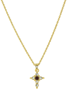 Gold-Tone Ruby Colored Crystal Cross