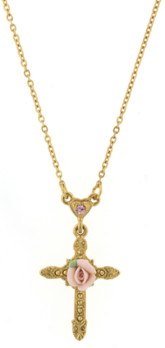 Gold Pink Rose Cross Necklace