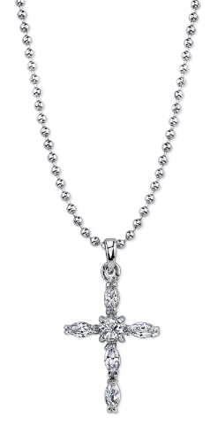 Silver Cubic Zirconia Cross Necklace