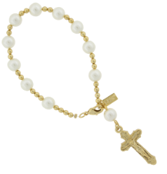 Simulated Pearl Crucifix Rosary Bracelet