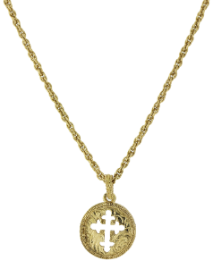 Gold-Tone Coin Cross Necklace