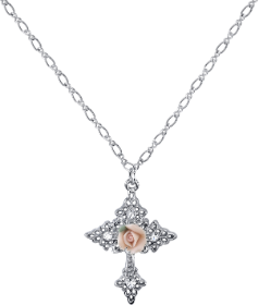 Pink Porcelain Silver Cross Necklace