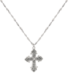 "Silver-Tone Marcasite Cross Pendant Necklace 16"" Adj"