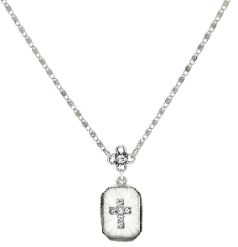 "Silver-Tone Frosted Stone with Crystal Cross Necklace 16"" Adj"