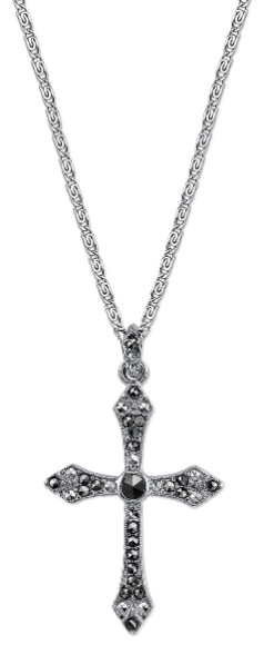 Silver-Tone Marcasite Cross Pendant Necklace 20""