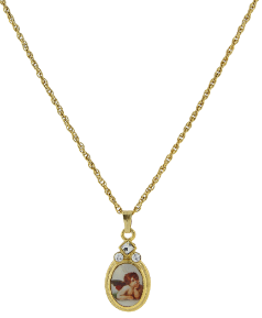 Gold-Tone Cherub Angel Decal Oval Pendant Necklace 18""