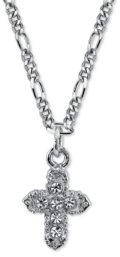 "Silver-Tone Crystal Cross Pendant Necklace 16""Adj"