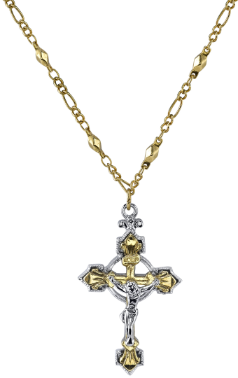 Two Tone Crucifix Necklace