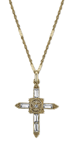 Crystal Cross Gold Tone Necklace