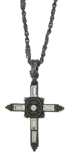 Black-Tone Black Crystal Cross Pendant Necklace 18""