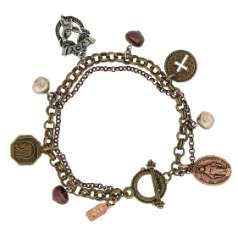 Mixed Metal Miraculous Medal Angel Charm Toggle Bracelet