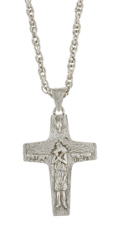 Silver-Tone Pope Francis Necklace 26""