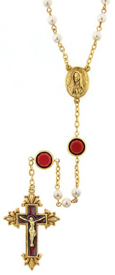 Red Hand Enameled Simulated Pearl Gold Tone Rosary