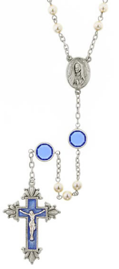 Blue Hand Enameled, Crystals and Pearls Limited Edition Silver Tone Rosary