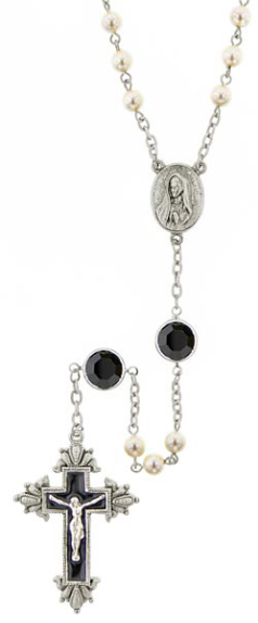 Black Hand Enameled, Crystals and Pearls, Limited Edition Silver Tone Rosary