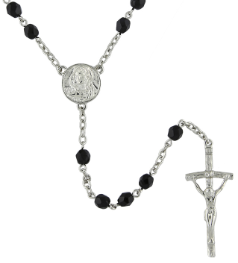 Papal Commemorative Silver Tone & Jet Rosary