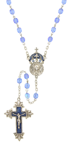 King of Kings Sapphire Light Blue Holy Crown Rosary