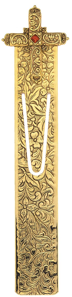 Renaissance Inspired Gold Tone Cross Bookmark