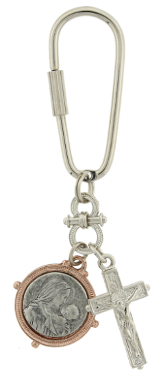 Silver-Tone and Rose Gold-Tone Crucifix with Madonna and Child Key Fob