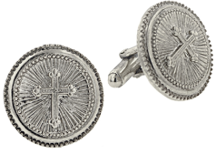 Silver Cross Round Cuff Links