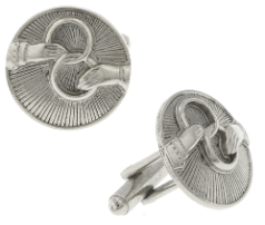 Silver-Tone Interlocking Rings Round Cuff Links