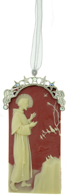 St. Francis of Assisi Silver Cameo Ornament