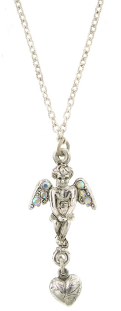 "Silver-Tone Crystal AB Angel Heart Necklace 16""Adj."