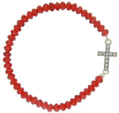 Silver-Tone Sideways Cross Red Bead Stretch Bracelet